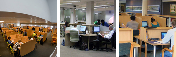 Computer areas in the library